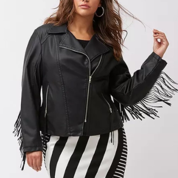 ba6901c0c52 Lane Bryant Faux Leather Fringe Moto Jacket Plus