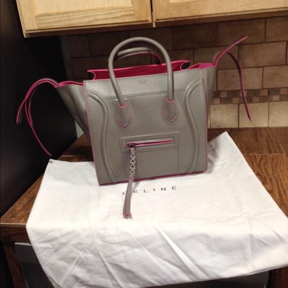 Celine Handbags - Gray and pink genuine leather phantom bag 0a1a79e996cfb