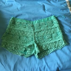 Mint colored lace shorts