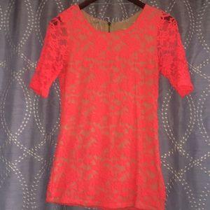 Bright coral Lace top