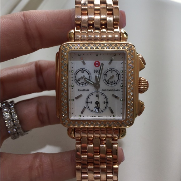 16acb0d7cf8 Brand new rose gold Michele deco watch.