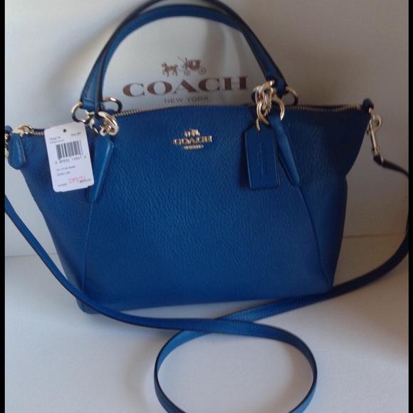 Coach NWT Bright Mineral Blue Pbl Lthr Kelsey Bag 21c1c67e0a22e