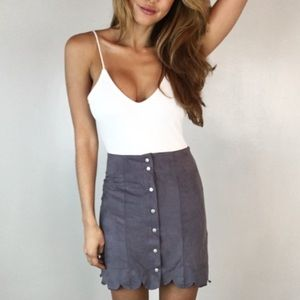 • Last Item • Gray Scalloped Suede Skirt