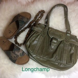 Pre-loved Army Green Longchamp Leather LG Satchel