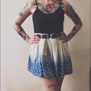 Faded Stars Printed Mini Skirt