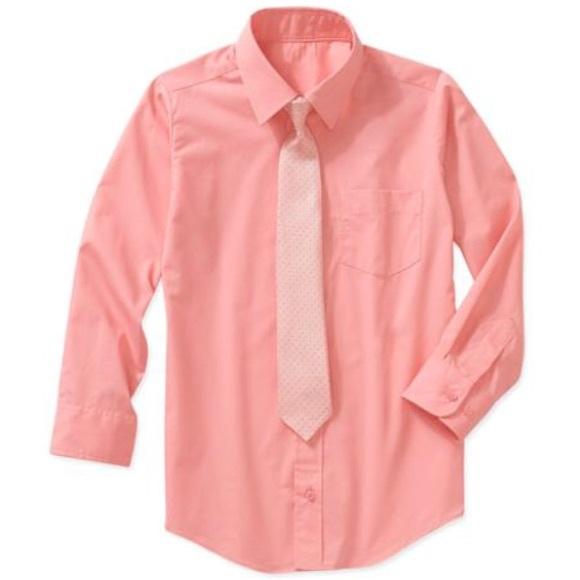 Kenneth Cole Boys Long Sleeve Dress Shirt and Tie Set