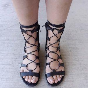 Shoes - LAST ONE - Black Flat Lace Up Gladiators