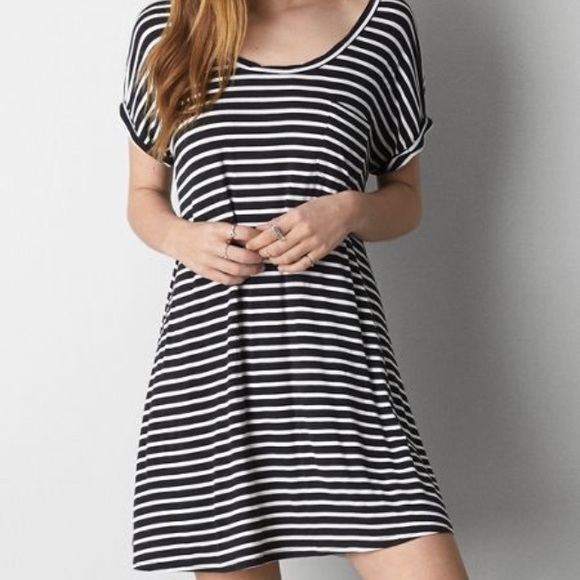 310aa5a81908 American Eagle Outfitters Dresses   Skirts - AE Black   White Striped T  Shirt Swing Dress