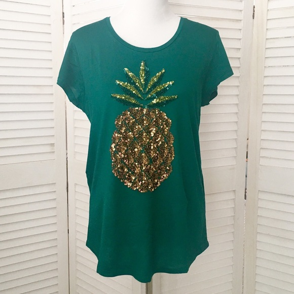 h m tops dk teal green sequin pineapple tee shirt from hm poshmark. Black Bedroom Furniture Sets. Home Design Ideas