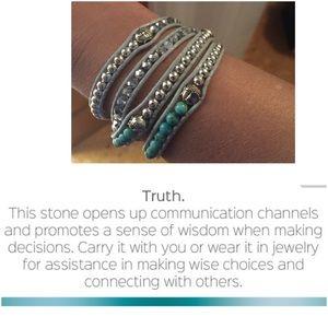 Jewelry - Turquoise silver crystal Buddha wrap bracelet