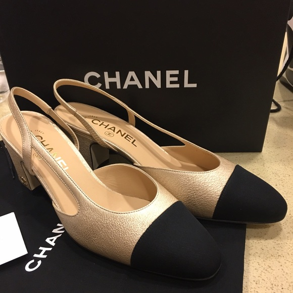 3d38c4306e4 Sold! Chanel gold sling back NWT