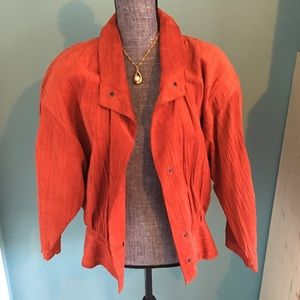 Stunning Vintage Red Leather Jacket XS-S Suede