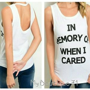 "🛍HP🛍""In Memory of When I Cared"" Graphic Tank"