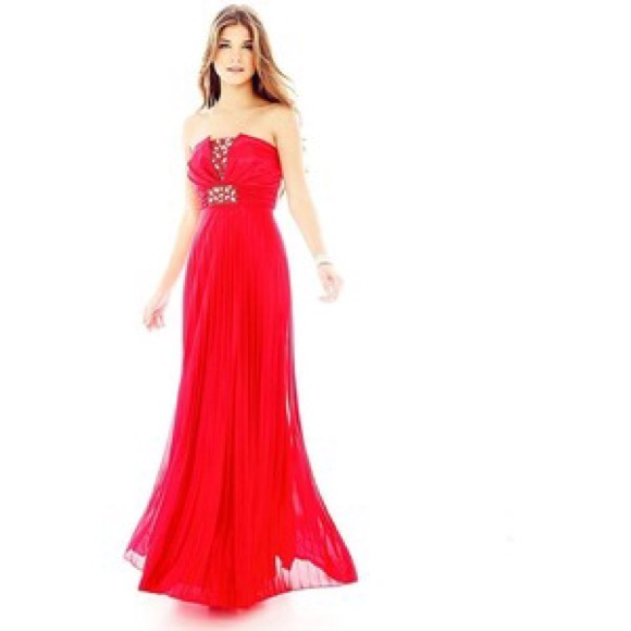 Mymichelle Dresses Bright Red Prom Dress With Jewels Poshmark