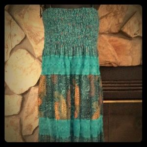 Dresses & Skirts - Tube top Maxi dress. Teal turquoise and gold. Sz M