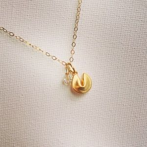 Golden Fortune Cookie Necklace