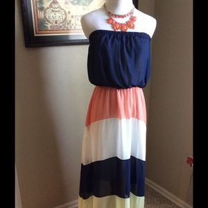 🎉🎉Beautiful multi color strapless maxi dress