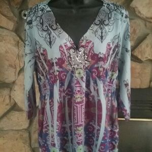 Tops - 3/4 sleeve tunic with embroidered embellishment L