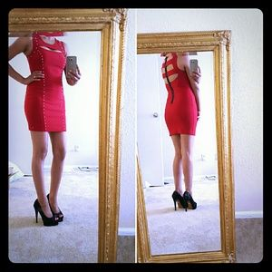 a'gaci Dresses & Skirts - ❤Sale❤Red cut out rhinestone dress