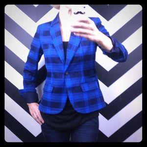 Merona tailored blue plaid blazer.