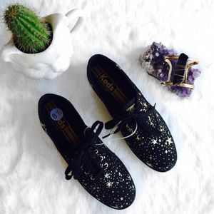 keds Shoes - Black and Gold Star Printed keds