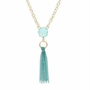 Olivia Welles Circle Stone & Tassel Necklace