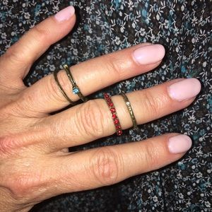 Bohemian Gem / Antique Brass 4 Midi Ring Set