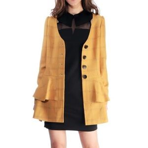 Quaint Official Jackets & Blazers - NWOT Quaint Official Yellow Plaid Coat