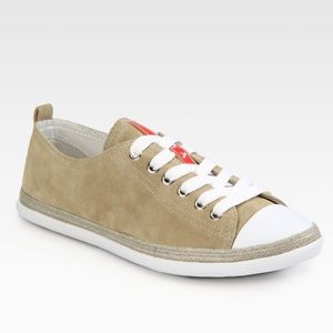 Prada Shoes - Prada Beige Sport Sand Suede Lace Up Sneakers 10 424bf8fb0