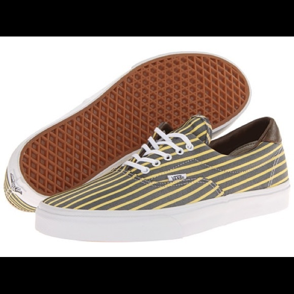 ab84055e45 New Vans Era 59 grey and yellow striped sneakers