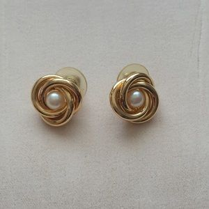 Jewelry - Vintage 1990s Gold Tone Faux Pearl Knot Earrings