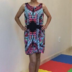 Black/mint Glow prints dress