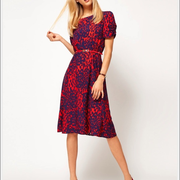 7baa131a221 ASOS Dresses   Skirts - ASOS red animal printed midi dress