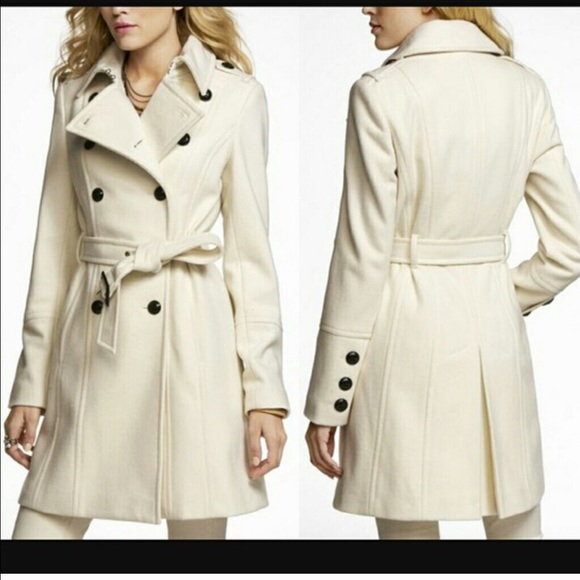 72% off Express Jackets & Blazers - Express Cream Colored Pea Coat ...