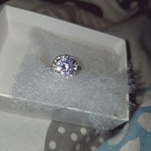 Jewelry - Halo Lavender White CZ Engagement Ring