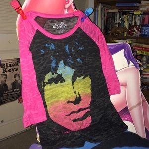 Sheer Jim Morrison The Doors Black Hot Pink Top L