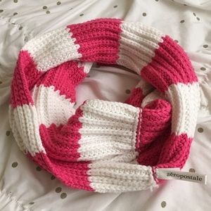 Aeropostale Pink and White Infinity Scarf