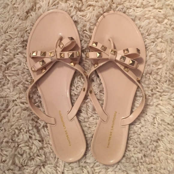 c56e8a669caa Chinese Laundry Shoes - Rubber jelly studded bow flip flops