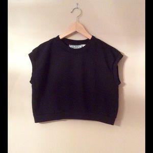 Vintage 90s Black Sweatshirt Crop Top