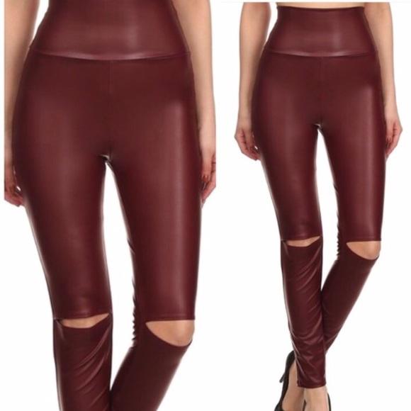 6be3da867 Open knee tummy control faux leather pants!