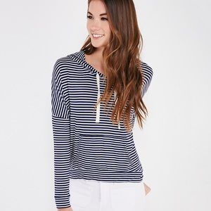 Tops - Navy & White Striped Lightweight Pullover Hoodie