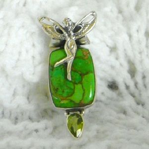 Jewelry - 925 green copper turquoise fairy pendant