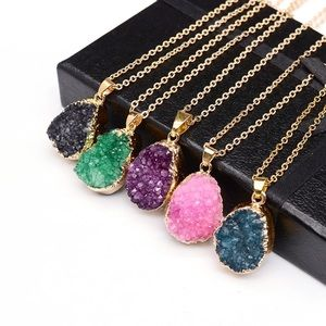 Jewelry - raw crystal pendant gold charm statement necklace