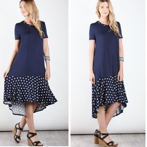 •midi polka dot dress•