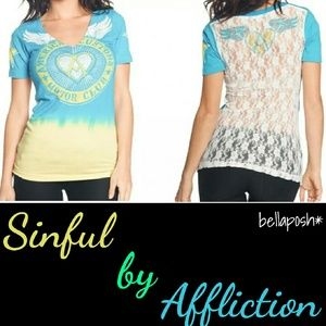 Sinful Tops - Affliction Lace Back Tee
