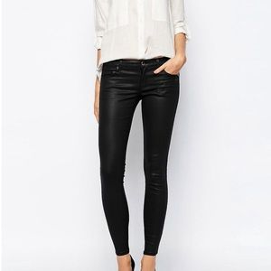 Mango Pants - New Mango Black Coated Skinny Jeans in size 12, 42