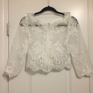 GORGEOUS lace crochet crop coverall