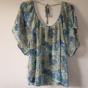 Tops - Love 21 Feather Print Sheer Top (Size L)