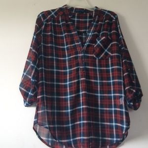 Tops - Sheer Plaid Button Down (Size Medium)