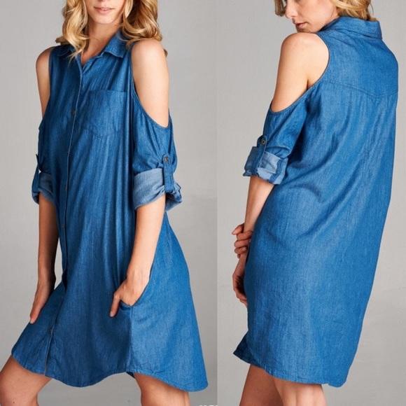 cafee1301d7d4 🆕CARABELLE open shoulder denim shirt dress MED